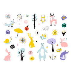 forest spring animals in children s style spring vector image