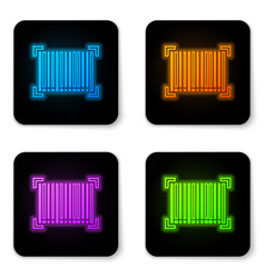 Glowing neon barcode icon isolated on white vector