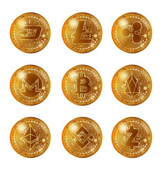 golden cryptocurrency coins set vector image