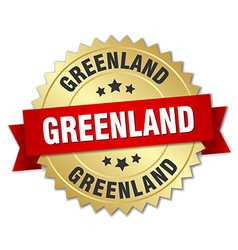 Greenland round golden badge with red ribbon vector image