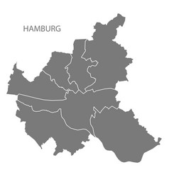 Hamburg city map with boroughs grey silhouette vector