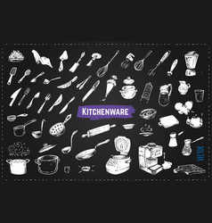 hand drawn kitchen utencils chalk icons vector image