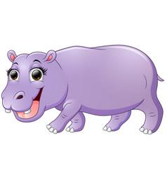happy hippo cartoon walking vector image