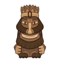 Happy wood idol icon cartoon style vector