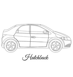 Hatchback car body type outline vector