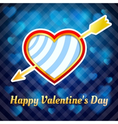 heart pierced by an arrow on a blue background vector image