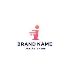 i letter dash tech fast quick logo icon vector image