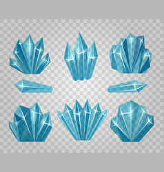 Ice crystals isolated on transparent background vector
