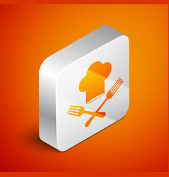 Isometric chef hat and crossed fork icon isolated vector