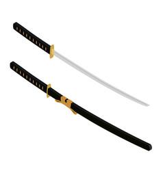 japanese katana sword samurai sword traditional vector image
