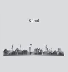 Kabul city skyline silhouette in grayscale vector