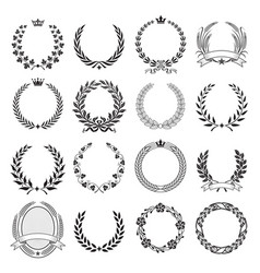 Laurel wreath round ceremonial frames vector