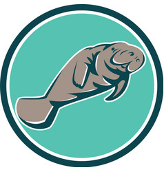Manatee Sea Cow Circle Retro vector