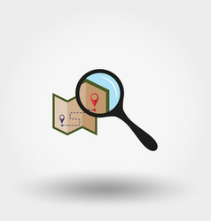 map under the magnifying glass icon flat vector image