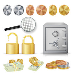 Money secure concept gold silver copper vector