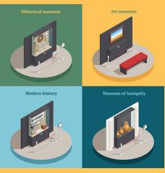 Museum showcase 4 isometric icons vector