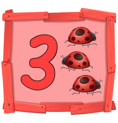 Number three on wooden banner vector