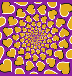 Optical background golden hearts are moving vector