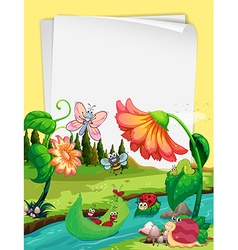 Paper design with insects by the river vector image
