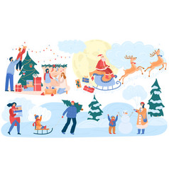 people on christmas happy woman and man vector image