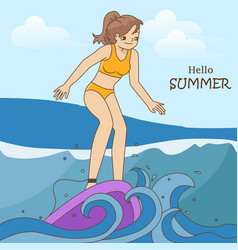 Pretty girl catching waves surfing vector