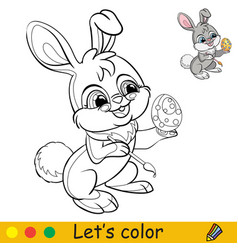 rabbit colors an easter egg coloring with vector image