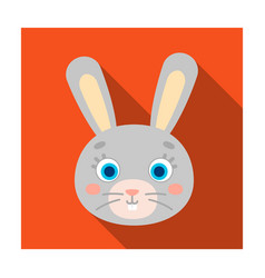 Rabbit muzzle icon in flat style isolated on white vector