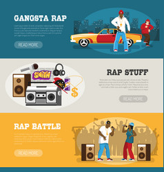 Rap music 3 flat banners vector