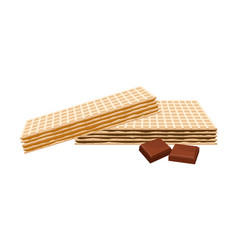 Rectangular chocolate wafers with textured surface vector