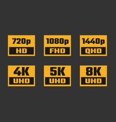 Screen resolution icon set 4k uhd 5k 8k quad vector