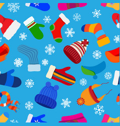 seamless pattern of warm winter clothes vector image
