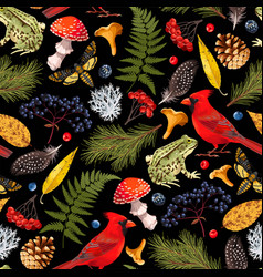 Seamless pattern with autumn forest element vector