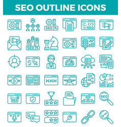 Seo search engine optimization outline icons vector