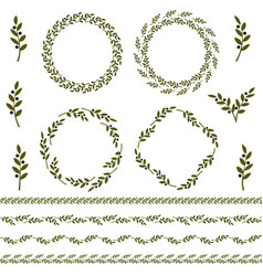 Set of green olive branch logo and ornament vector