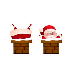 set of happy santa in the chimney vector image