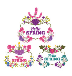 Set of hello spring lettering with vintage vector