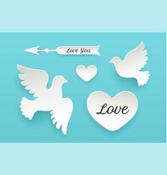 set of paper objects heart pigeon bird arrow vector image