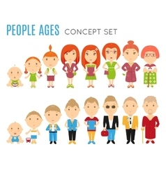Set of people age flat icons vector