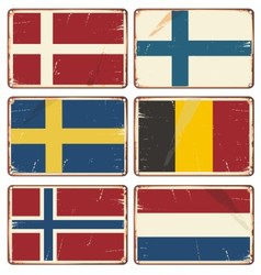 Set of vintage metal signs with flags vector image