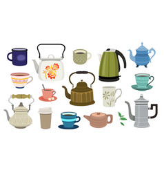 Set teapots and cups flat design style vector