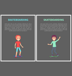 skateboarding activity banner isolated on grey vector image