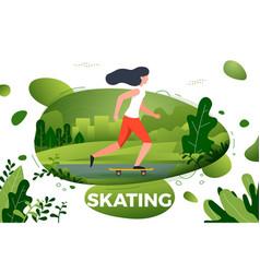 sporty girl skating in park vector image
