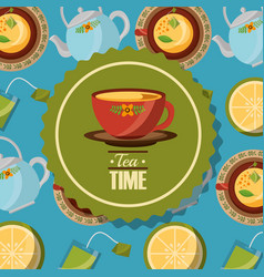 Teacup on dish badge and teapot cups background vector