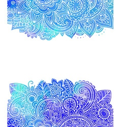 Template with doodle flowers and blue watercolor vector