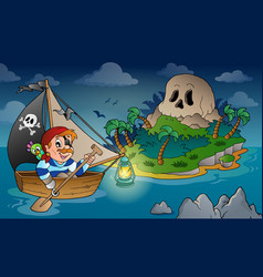 Theme with pirate skull island 2 vector