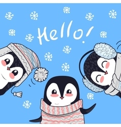 Three Little Penguins Say Greetings Hello Banner vector