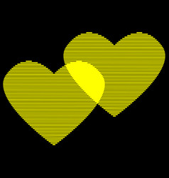 two hearts gold lines on black sign 412 vector image