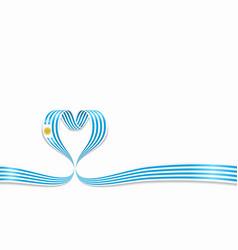 Uruguayan flag heart-shaped ribbon vector