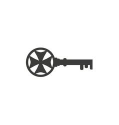 vintage key silhouette black lock safety secret vector image