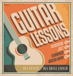 Vintage poster design for guitar lessons vector image